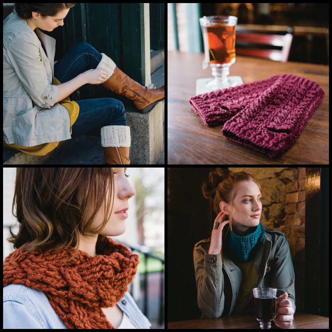 Clockwise from top left: Cabled Boot Cuffs, Satinées Wine Wristers, Silky and Chic Cowl, and One Big Braid Scarf from <em>Celtic Cable Crochet.</em> Photos by Chris Demsey.