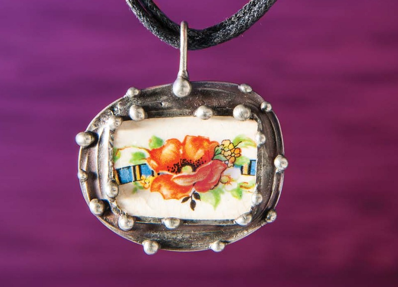 flower jewelry; Pendant with a Past from Soldered Alchemy by Laura Beth Love