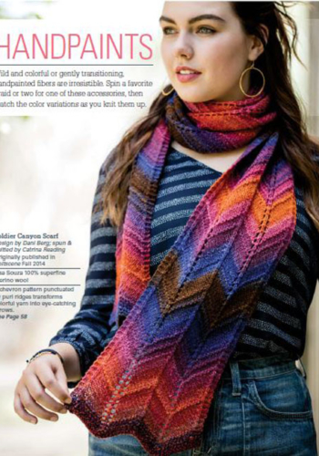 Soldier Canyon Scarf designed by Dani Berg; spun & knitted by Catrina Reading