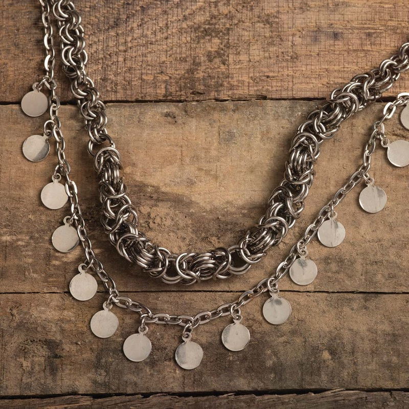 chain, chain maille, and metal disk necklace by Anne Potter