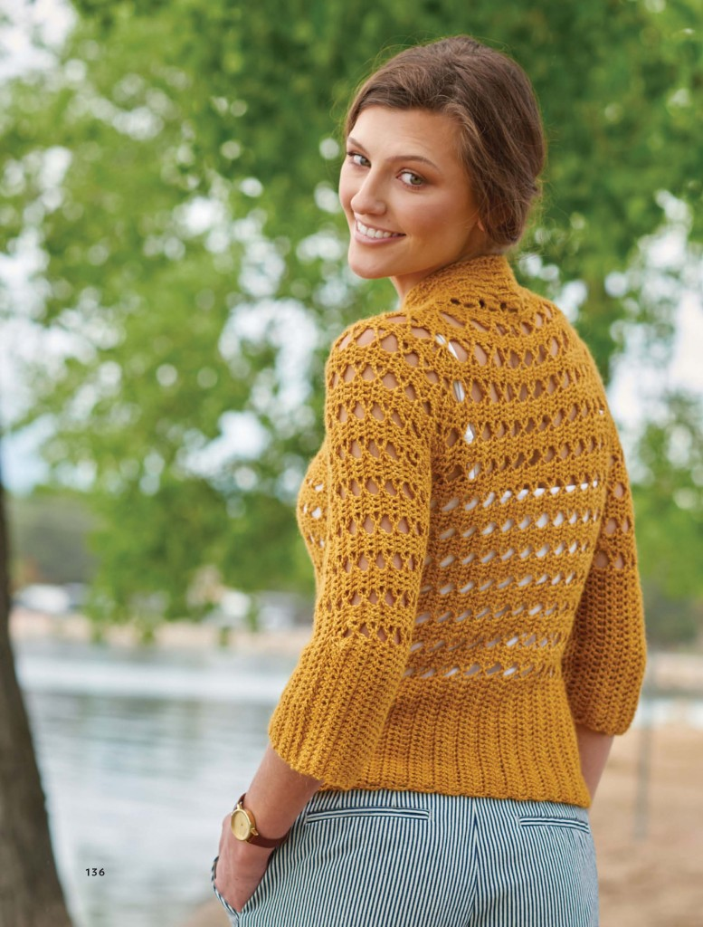 Tigress Spiraling Bruges Lace Crochet Pullover, Continuous Crochet by Kristin Omdahl