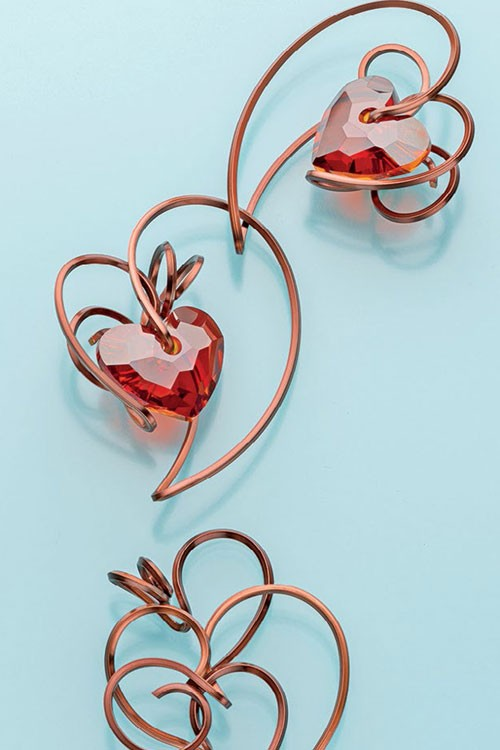 Valentine's Day inspired jewelry-making projects to make and gift to yourself or a special someone. Square Wire Heart Pendant by Lilian Chen.