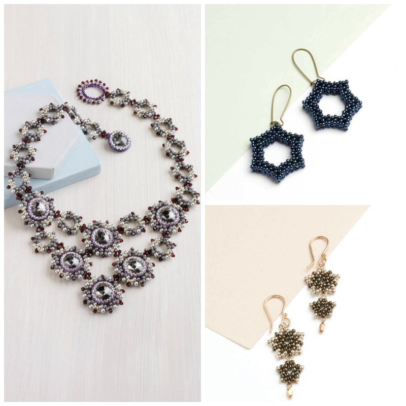 Bead Weaving: Summer-Inspired Beading Designs for the 4th of July. Clockwise, from left: North Star Necklace, Simple Star Earrings, Peyote Star Earrings