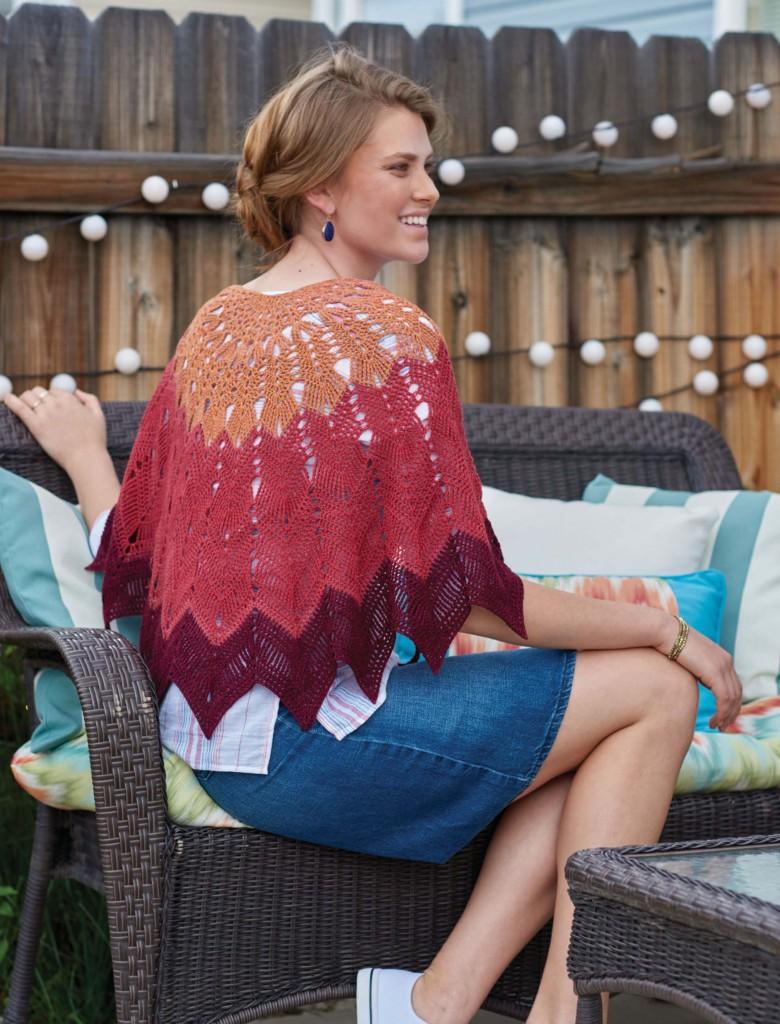 Sorrento Sunset Starburst Shawl, Continuous Crochet by Kristin Omdhal