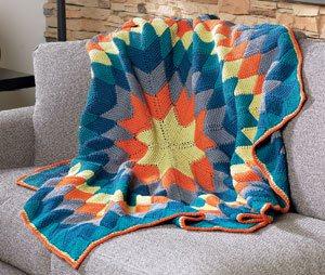 Sunburst Entrelac crochet afghan by Megan Granholm | CrochetMe.com