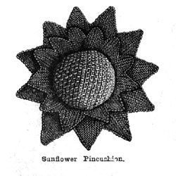 Victorian knitted pincushion from Weldon's Practical Knitter