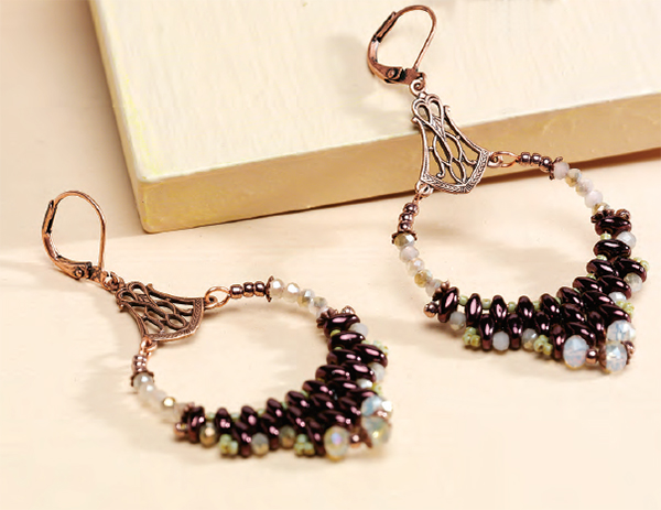 An elegant earring design that brings beadweaving and simple wireworking together; Duo Drop Earrings, by Barbara Falkowitz and Amy Haftkowycz, Beadwork magazine artists of the year, 2015