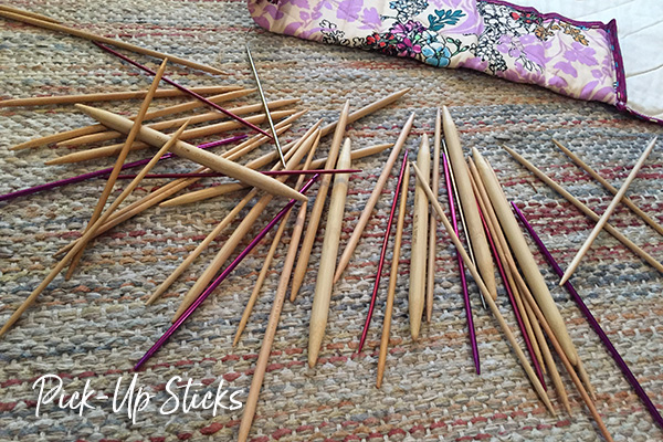 snow day knitting needle pick up stick game