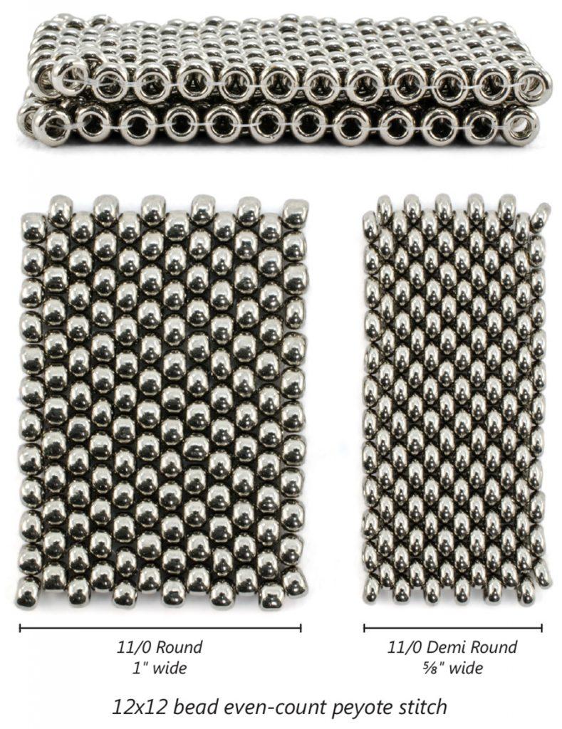 Size 8 round and Size 8 Demi Round seed bead comparison. Photo Nichole Starman