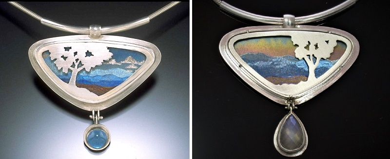 jewelry design: The first and most recent version of Noël's Take the Long View jewelry design. She calls the series that because there is a foreground and a background but no middle ground; photos: Noël Yovovich