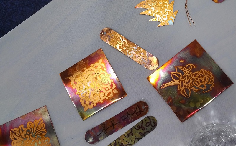 Bead Fest demo: heat patina on copper with VersaMark ink and rubber stamps from Ranger Ink by Tammy Jones
