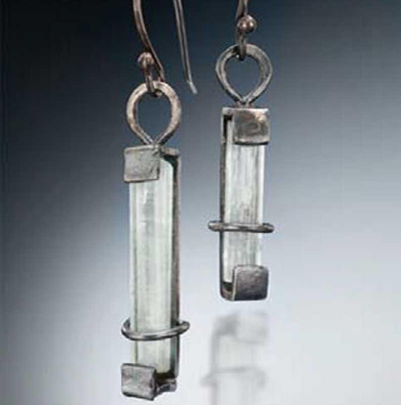 Veteran and jewelry designer Tara Hutchinson aqua earrings