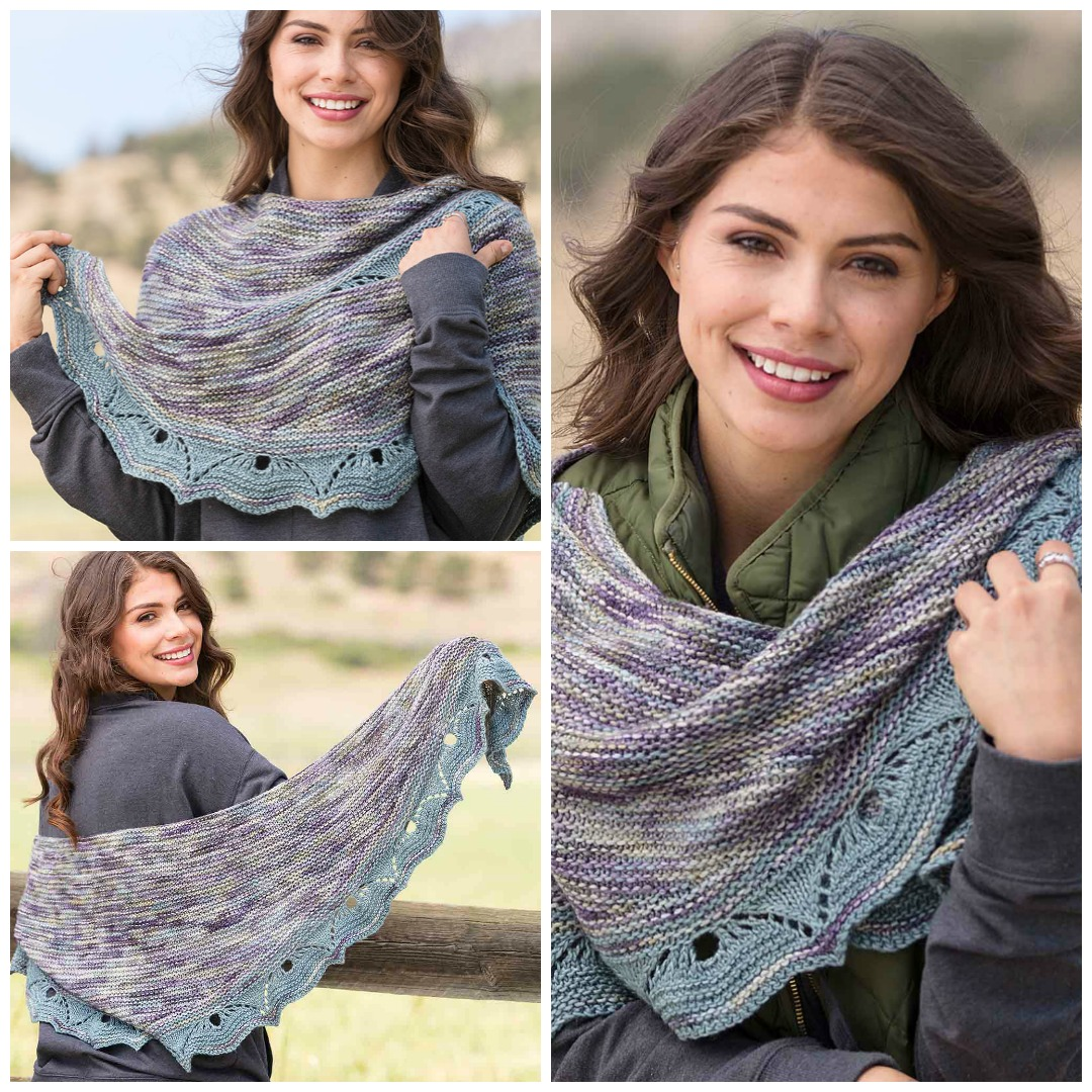 Susanna IC's Tarfala Valley shawl is a classic crescent shawl knitting pattern worked in avariegated yarn with a lace edging.