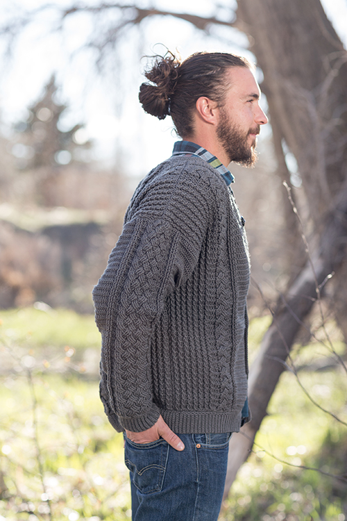 Cables on Sleeve of Temescal Cardigan Men's Crochet Sweater