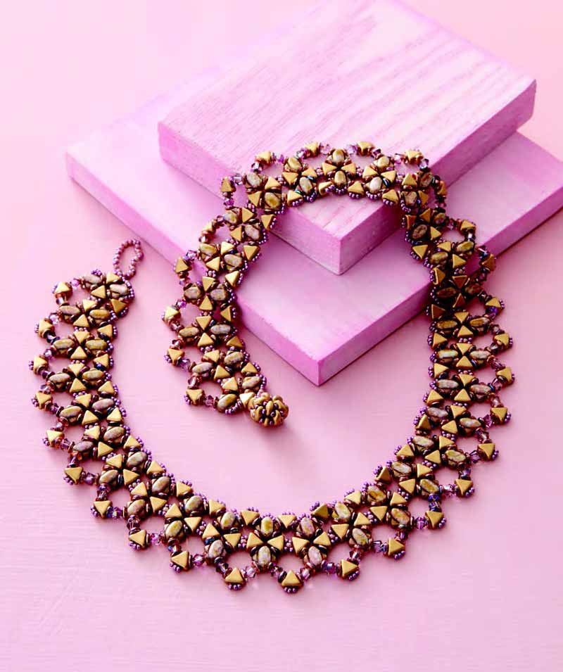 Jewelry Trends Report and Free Beaded Choker Necklace Projects. Tessellations Collar uses SuperDuos, O beads, Kheops par Puca, and Silky beads to create an Escher-esque pattern that is particularly stunning in a pink and gold color palette.
