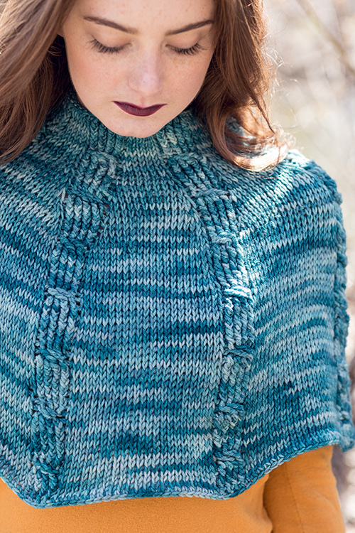 Close Up of Tetrad Tunisian Crochet Cable Capelet