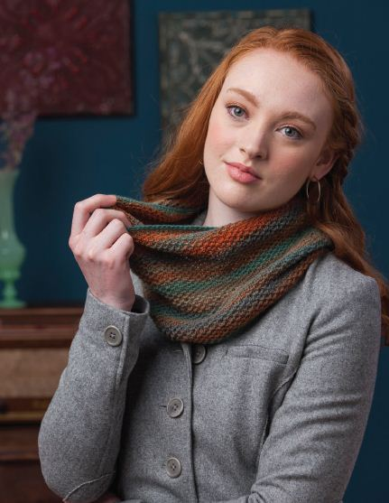 multicolor shawl with orange and teal