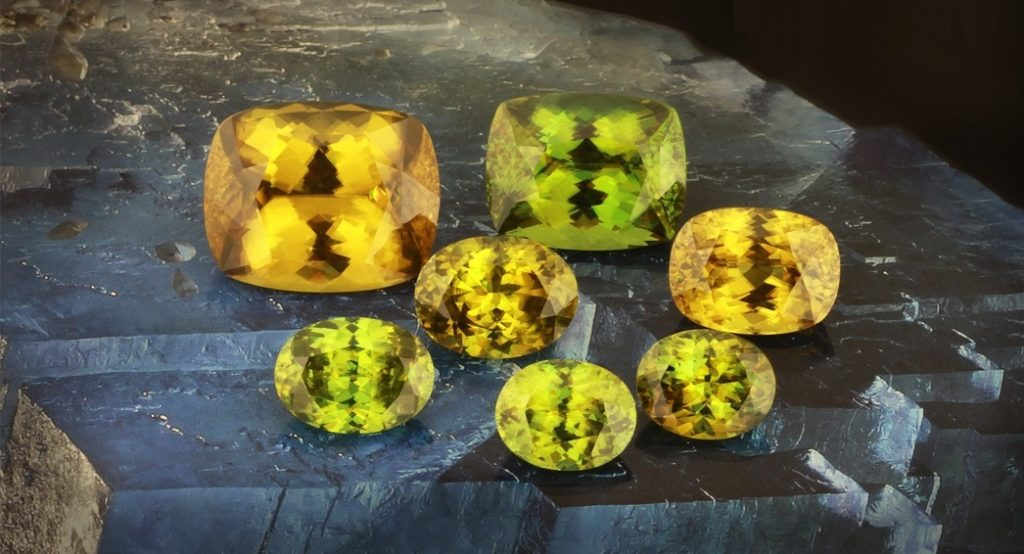 yellow gemstones: Sphene is a gemstone coming into its own because of the gorgeous color. And what do you know, it's still affordable. If you're looking for a show-stopping yellow stone to enliven a new piece of jewelry, this is a stone worth looking at. Photo courtesy Thai Lanka Trading.