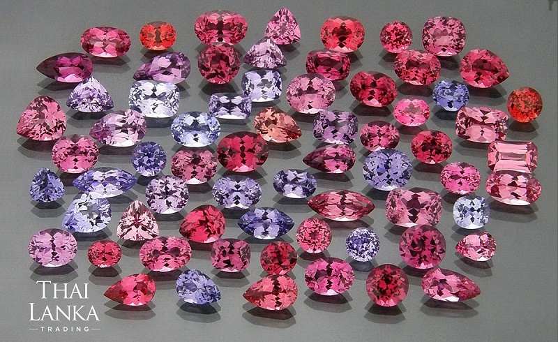 pink gemstones: For a range of pinks—orange pinks, pink pinks, lavender pinks, to actual lavender—look no further than the family of spinels, one of the least known and underrated gemstones. Photo courtesy Mark Smith, Thai Lanka Trading.