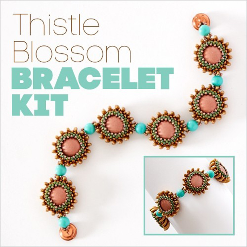Thistle Bracelet by Kassie Shaw made using right-angle weave