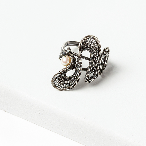 wire jewelry: Tidal Wave Ring from Woven in Wire by Sarah Thompson