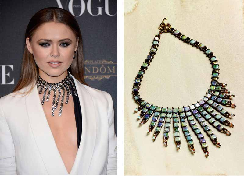 Jewelry Trends Report and Free Beaded Choker Necklace Projects. The waterfall silhouette is a dramatic and modern interpretation of the choker trend. Tile beads are ideal for creating this shape and will ensure that the piece lays nicely.