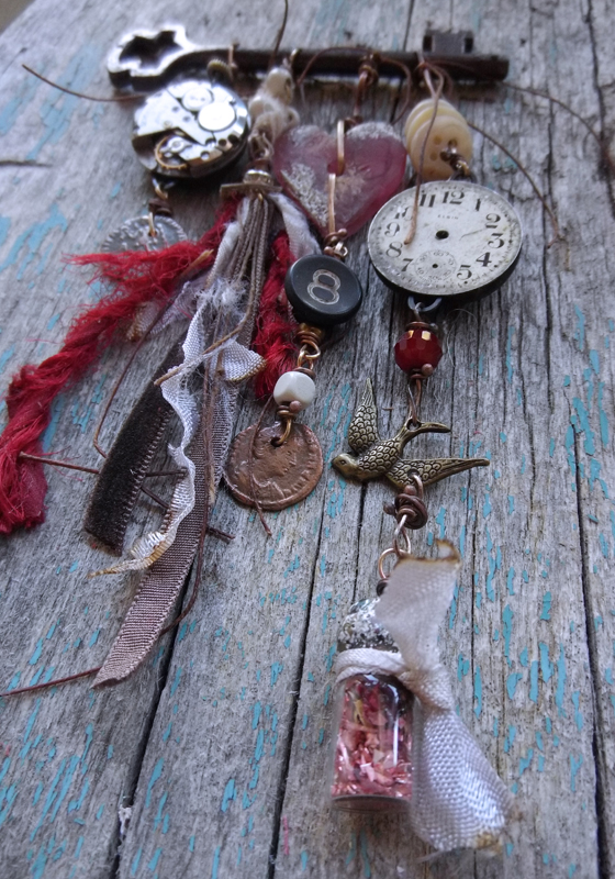 mixed media jewelry: Time Necklace by Jen Cushman