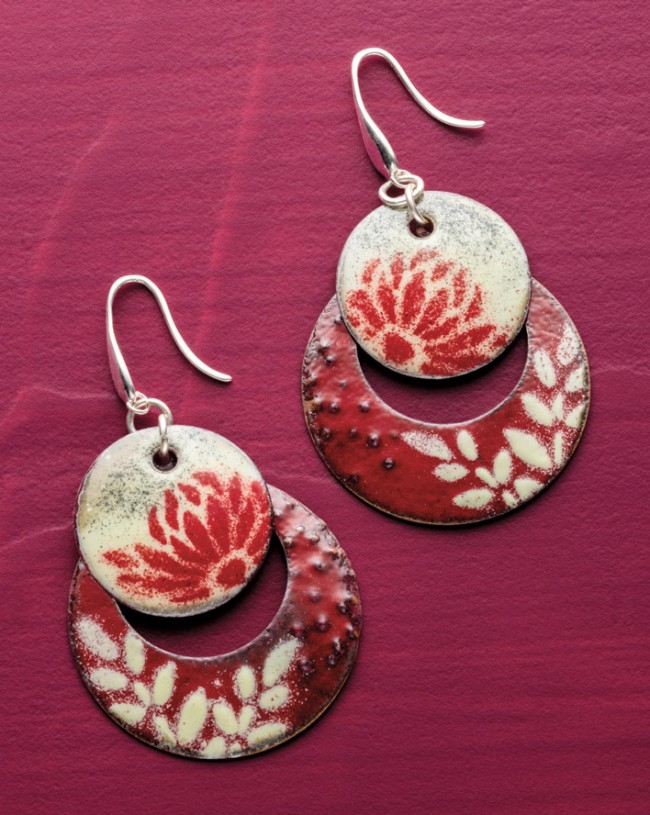 Valentine's Day inspired jewelry-making projects to make and gift to yourself or a special someone. Torch-Fired Stencil Enamel Earrings by Eugenia Chan.