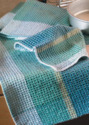 Waffleweave towels on four shafts by Dianne Totten