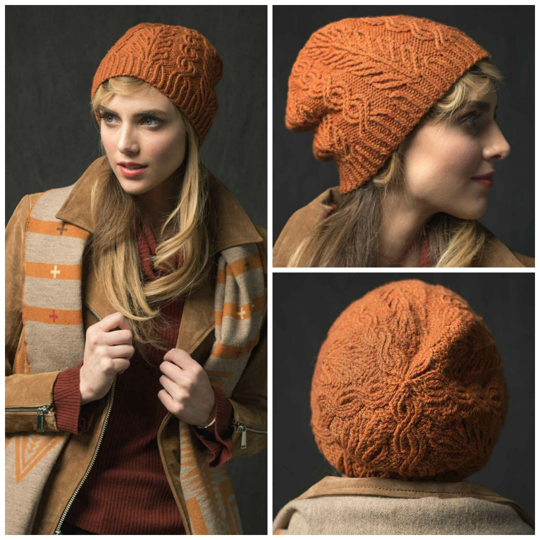 The Tree Boughs and Trails Hat is a cabled hat knitting pattern, using twisted stitches for great definition in your knitted cables.