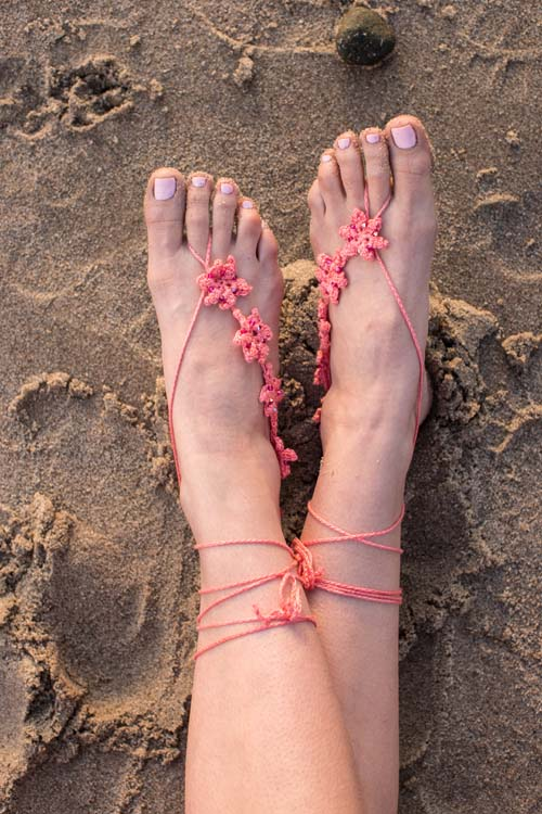 Trio of Barefoot Sandals Tiny Blooms Sandals