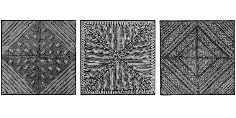 From left, Raised Snowdrop, Ribbed Pattern Square, and Wicker Pattern