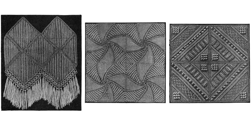 Square Worked in Parallel Ridges, Lily Pattern, Corinthian Pattern