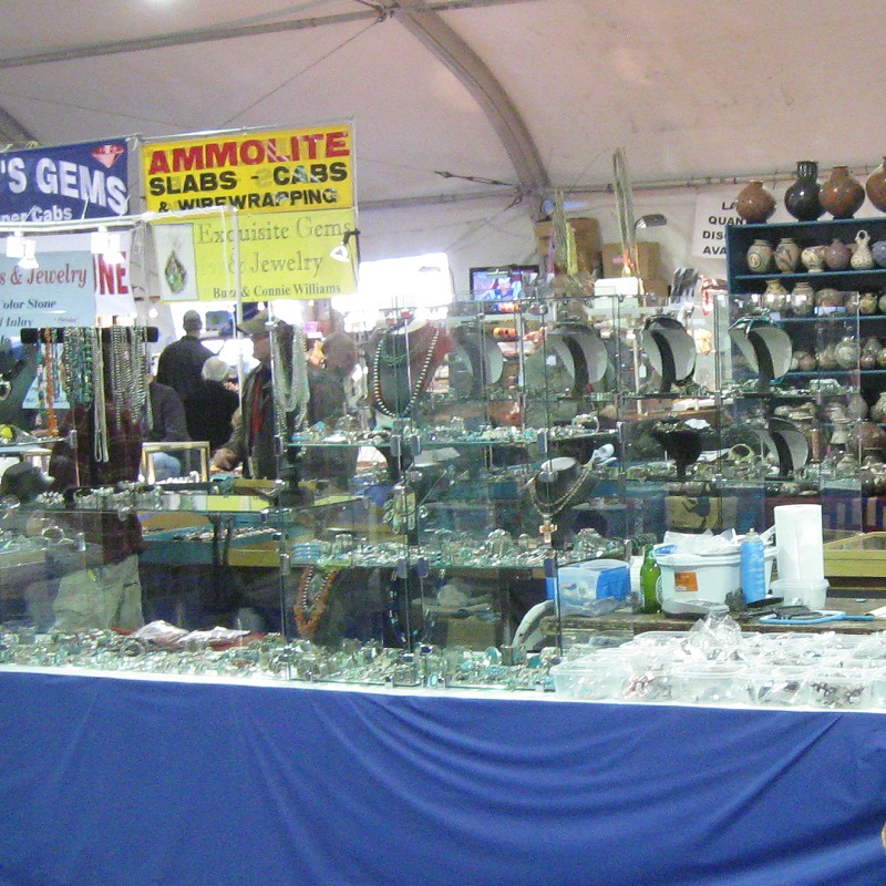 pottery, finished jewelry, fossils, mineral specimens and more at the Tucson gem shows