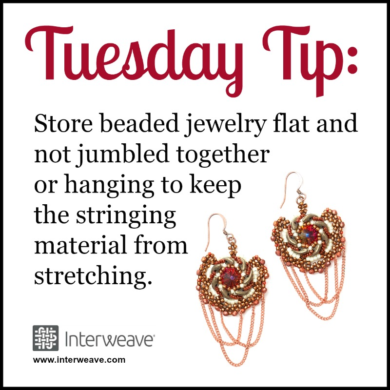 #TuesdayTip Store beaded jewelry flat and not jumbled together or hanging to keep the stringing material from stretching.