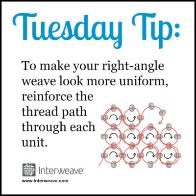#TuesdayTip To make your right-angle weave look more uniform, reinforce the thread path through each unit.