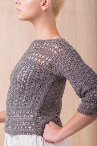 Side View of Tumult Crochet Sweater