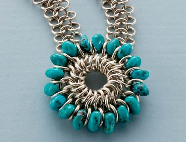 Turquoise Mandala chain maille pendant by Kylie Jones