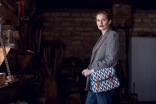 Tweedy Crochet Bag over one shoulder