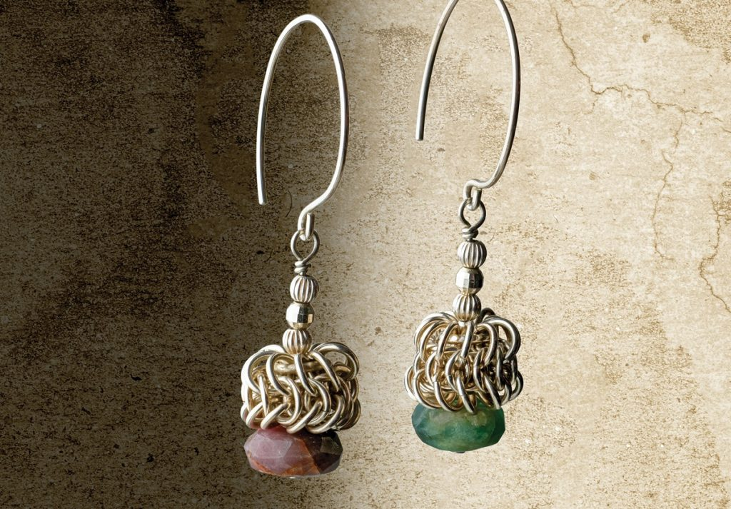 Two Ears, Two Colors Chain Maille Earrings by Kylie Jones