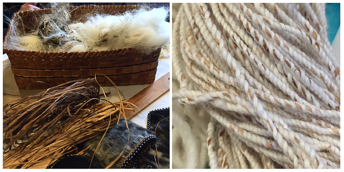 (Left) Mountain goat wool and strips of yellow cedar. (Right) Shaa's finished warp using wool and cedar. Photo: Ashli Tyre.