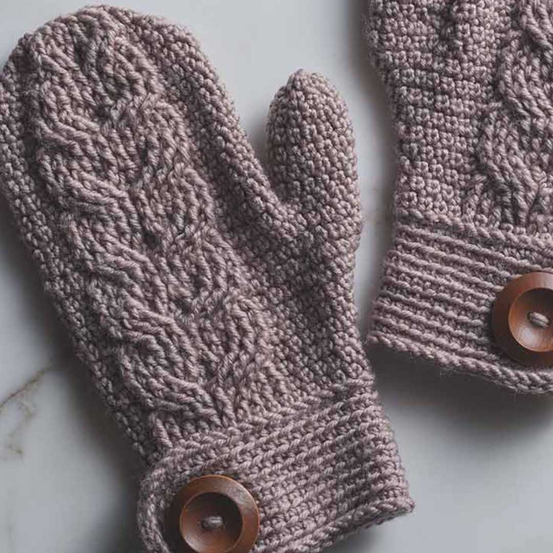These mittens have a unique cable pattern. | Photo Credit: Harper Point Photography