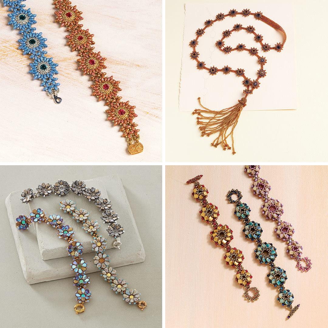 beading: Yasmin Sarfati's Sunflower Bracelet, Melanie Potter's Swinging Starlets Necklace, Valerie Felcetto's Breezy Blossoms Bracelet, and Penny Dixon's Tilt-a-Whirl Bracelet
