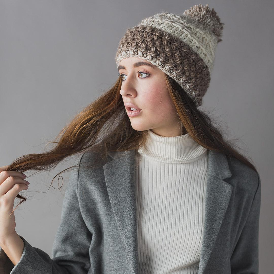 Vanilla and Spice Hat Interweave Crochet Winter 2019 CREDIT: Harper Point Photography