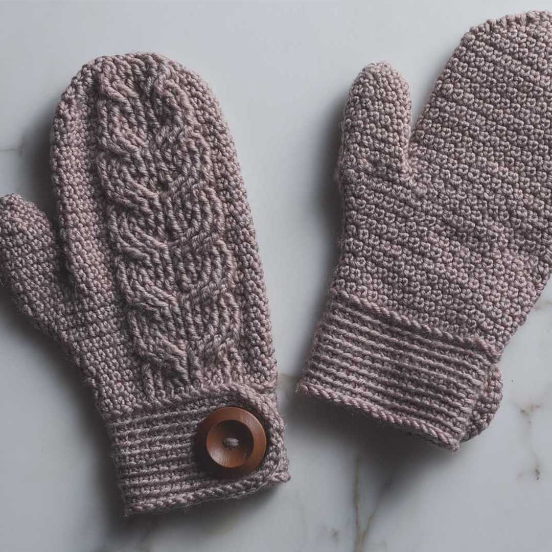 The Venturesome Mittens combine extended single crochet stitches with post stitches. | Photo Credit: Harper Point Photography