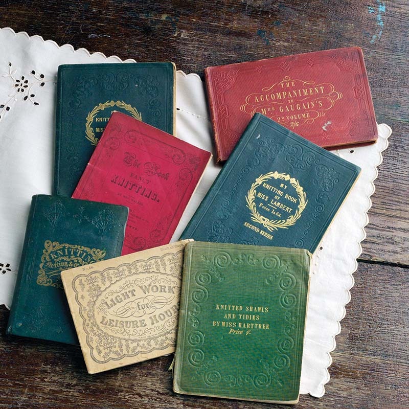Dorothy Reade's Victorian knitting book collection contains books published between 1841 and 1900. Photo by Joe Coca.