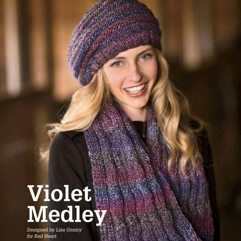 Violet Medley Hat and Scarf