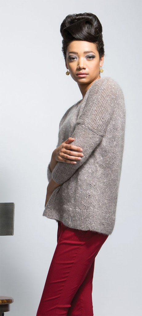Virginie Pullover knitting pattern in Knitscene magazine's Fall 2015 issue.