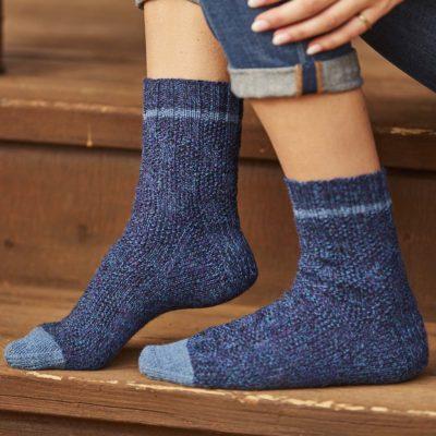 windows of moss stitch socks