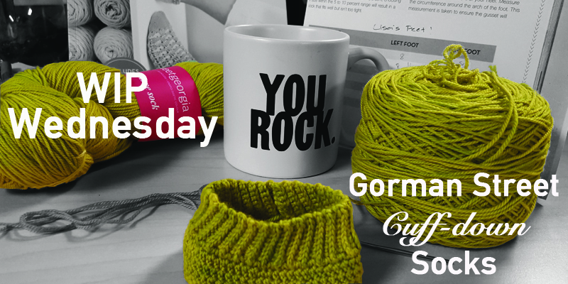WIP Wednesday – Lisa's Gorman Street Cuff-down Socks